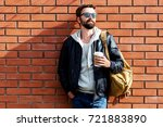 outdoor fall or winter portrait ... | Shutterstock . vector #721883890