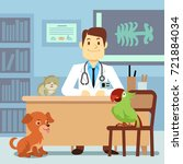 veterinary office with doctor... | Shutterstock .eps vector #721884034