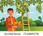 young man in a garden with a... | Shutterstock .eps vector #721889278