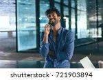 handsome bearded man is talking ... | Shutterstock . vector #721903894