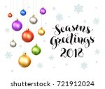 happy holidays 2018 postcard... | Shutterstock .eps vector #721912024