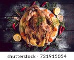 whole roasted turkey with baked ... | Shutterstock . vector #721915054