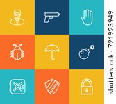 set of 9 security outline icons ... | Shutterstock .eps vector #721923949