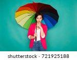 stylish girl in bright casual... | Shutterstock . vector #721925188