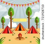 vector camp group with creative ... | Shutterstock .eps vector #721928710