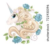 head of the fairy unicorn with... | Shutterstock .eps vector #721930396
