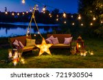 sofas with pillows and lamps... | Shutterstock . vector #721930504