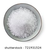 bowl of sea salt isolated on... | Shutterstock . vector #721931524