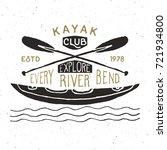 kayak and canoe vintage label ... | Shutterstock .eps vector #721934800