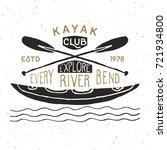 kayak and canoe vintage label ... | Shutterstock .eps vector #721934800