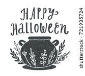 happy halloween. witches... | Shutterstock .eps vector #721935724