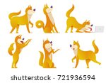 the dog cartoon characters set... | Shutterstock .eps vector #721936594