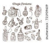 set of magic potions  tubes and ... | Shutterstock .eps vector #721939609