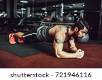 plank it. confident muscled... | Shutterstock . vector #721946116