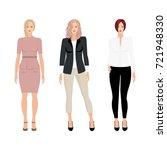 caucasian vector business women ... | Shutterstock .eps vector #721948330
