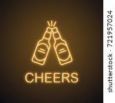 toasting beer bottles neon... | Shutterstock .eps vector #721957024