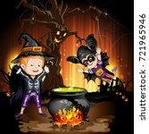 boys in halloween costume... | Shutterstock .eps vector #721965946