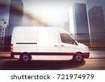 fast van on a city road . 3d... | Shutterstock . vector #721974979
