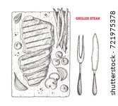 grilled steak vector sketch.... | Shutterstock .eps vector #721975378
