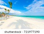 relaxing on sun lounger at... | Shutterstock . vector #721977190