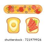 set toasts and sandwich... | Shutterstock . vector #721979926