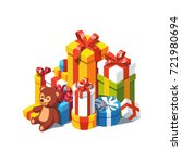 big pile of colorful wrapped... | Shutterstock .eps vector #721980694