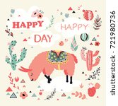 happy lama card with lovely... | Shutterstock .eps vector #721980736