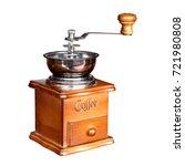 vintage wooden coffee grinder... | Shutterstock . vector #721980808