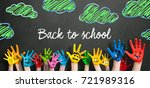 many painted kids hands with... | Shutterstock . vector #721989316