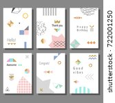 set of artistic colorful... | Shutterstock .eps vector #722001250
