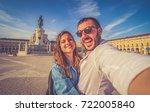 handsome couple tourist take... | Shutterstock . vector #722005840