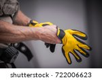 wearing construction safety... | Shutterstock . vector #722006623