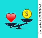 balance between heart and money.... | Shutterstock .eps vector #722008564