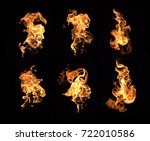 fire flames collection isolated ...   Shutterstock . vector #722010586