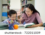 cute little boy studying at the ... | Shutterstock . vector #722011039