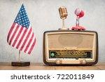 Usa Flag  Retro Broadcast Radi...