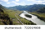 beautiful river forest mountain ... | Shutterstock . vector #722019808