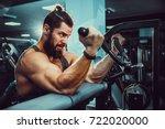 bearded man doing heavy weight...   Shutterstock . vector #722020000