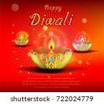 abstract beautiful happy diwali ... | Shutterstock .eps vector #722024779