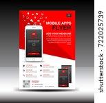 mobile apps flyer template.... | Shutterstock .eps vector #722025739
