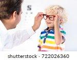 child at eye sight test. little ... | Shutterstock . vector #722026360