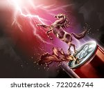 liquid horse jumped up from can ... | Shutterstock .eps vector #722026744