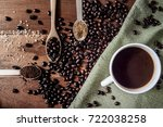 cup of coffee and coffee beans... | Shutterstock . vector #722038258