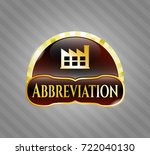 shiny badge with factory icon... | Shutterstock .eps vector #722040130