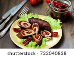mini chicken rolls with dried... | Shutterstock . vector #722040838