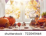 happy halloween  pumpkin ... | Shutterstock . vector #722045464