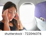 travel plane sick woman. fear... | Shutterstock . vector #722046376