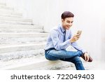 happy and friendly young...   Shutterstock . vector #722049403