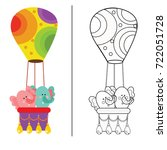 coloring book page animal... | Shutterstock .eps vector #722051728