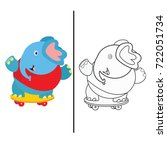 coloring book page animal... | Shutterstock .eps vector #722051734